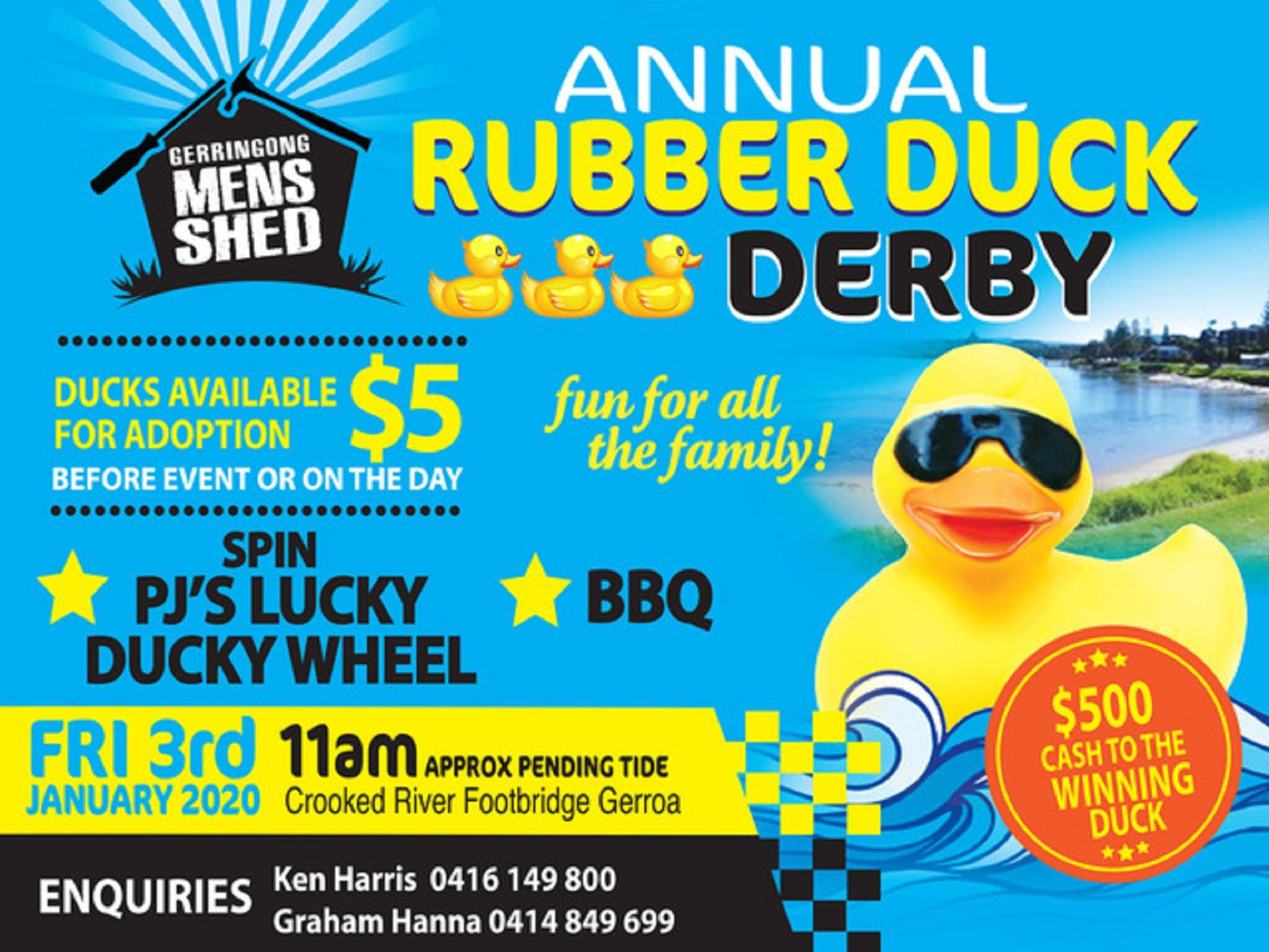 Gerringong Mens Shed Annual Duck Derby - Accommodation Adelaide